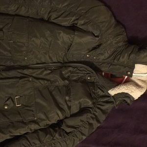 Kohl's green down winter military puffer style